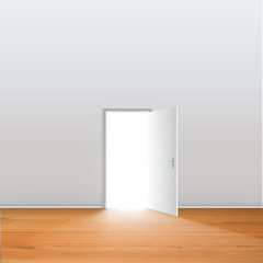 Light Open Door in White Wall with shadow