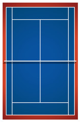 Blue badminton court layout