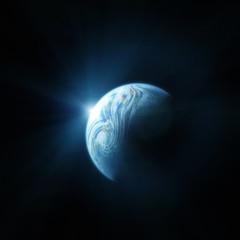 Planet Earth. Space sunrise