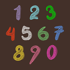 Colorful Set of Numbers Hand Writing