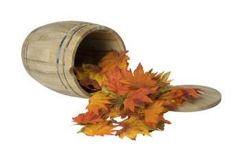 Wooden Barrel on Side with Fall Leaves