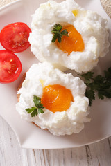 French cuisine: baked eggs Orsini and tomato closeup. vertical top view