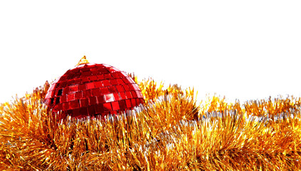 Christmas card with red mirror sphere