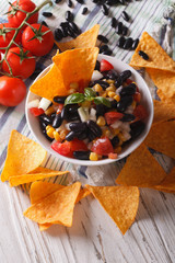 Mexican cuisine: tasty salsa and corn chips nachos close-up. Vertical