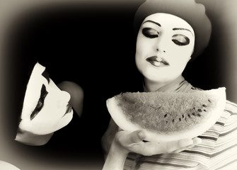 Mimes and a water-melon
