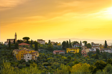 Wall Murals Yellow Tuscany town in the hills