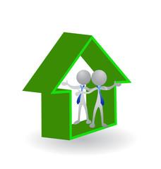 Logo Real Estate 3D house vector