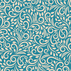 Wall Mural - Seamless floral pattern on uniform background