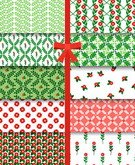 Wall Mural - Red green flowers and branches simple seamless pattern