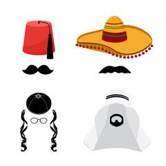 Turkish, mexican, arabic and jewish hats