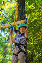 Brave little boy having fun at adventure park and giving  thumbs