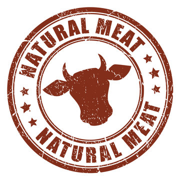 Natural beef meat stamp