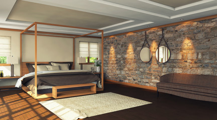Wooden Bedroom With Natural Stone Wall