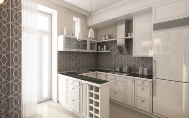 Modern Kitchen In Grey and White Colours 2