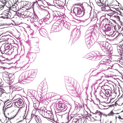 Watercolor vector wreath with flowers and leaves on white backgr