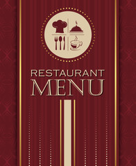 Restaurant menu design cover template in retro style