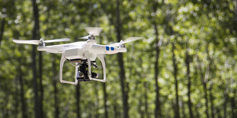 UAV drone flying outdoor.