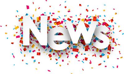 Paper news confetti sign.