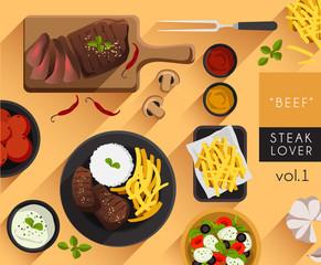 Food Illustration : Steak : Beef