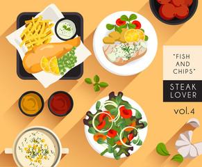 Food Illustration : Steak : Fish and Chips