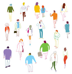 Many people walking, talkink and standing - crowd illustration
