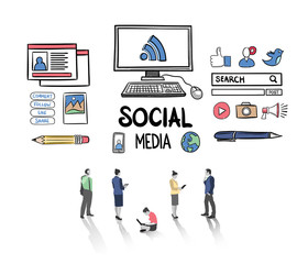 Social media icons with business people vector