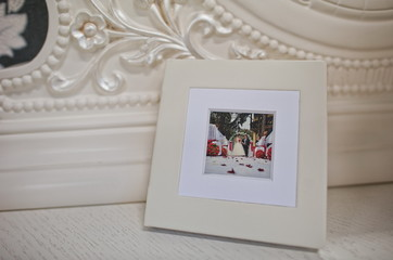 white classic leather photo book and album
