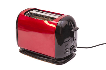 Red toaster and two slices of bread isolated on white