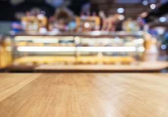 Table Top Counter with Blurred Bread display shelf Bread Bakery Shop