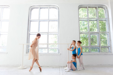 Three little ballerinas dancing with personal ballet teacher in