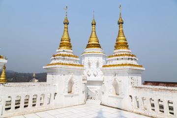 White pagoda is on Sagaing hill, Myamar.