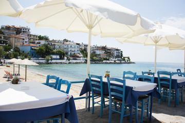 Table set in restaurant on seaside
