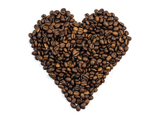 Coffee Beans In Heart Shape Isolated On White Background