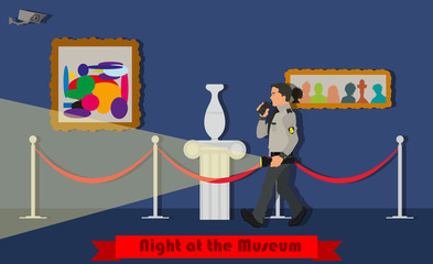 Night at the Museum. Museum security guard patrols at night. Vector illustration in a flat style.