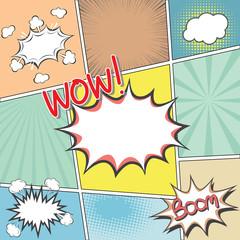 comic book templete with speech bubbles element