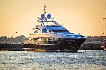 Luxury yacht on golen sunset