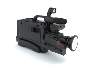 Professional video camera on a white
