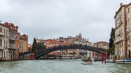 VENICE, ITALY. Akademia bridge via the Grand channel (Canal Grande)