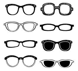 Drawn glasses vector set