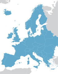 blue Europe vector map