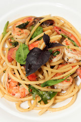 Spaghetti with prawn,cherry tomato and basil