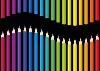 Colored pencils or crayons as a rainbow colored wave. Seamless background can be created in all directions. Isolated vector illustration on black background.