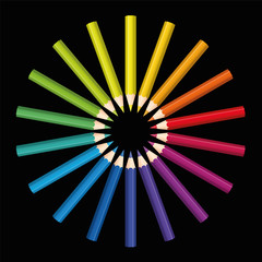 Colored pencils that form a rainbow colored flower or sun. Isolated vector illustration on black background.