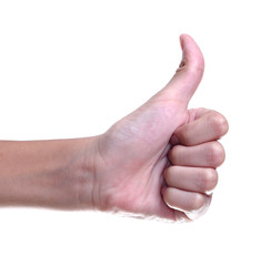 thumbs up sign against white background