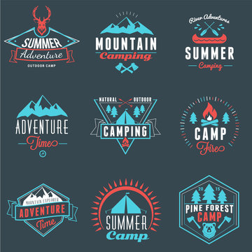 Summer Holidays Design Elements. Set of Hipster Vintage Logotypes and Badges in Three Colors on Dark Background