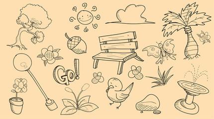 Park Theme Doodle Set, a set of hand drawn vector park theme doodle set for your project needs.