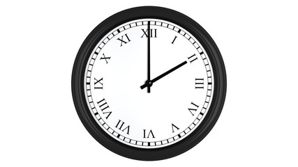 Realistic 3D clock with Roman numerals set at 2 o'clock