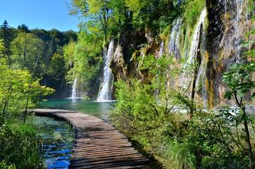 Boardwalk through the waterfalls of Plitvice Lakes National Park, Croatia Wall mural