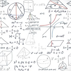Seamless pattern of the formulas on the geometry isolated on whi