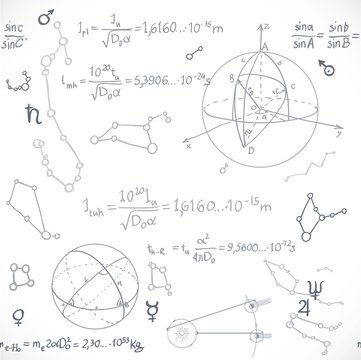 Seamless pattern of the formulas on the astronomy isolated on wh